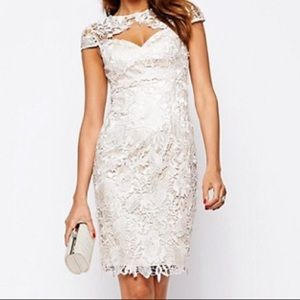 Lipsy VIP Lace Pencil Dress with Keyhole